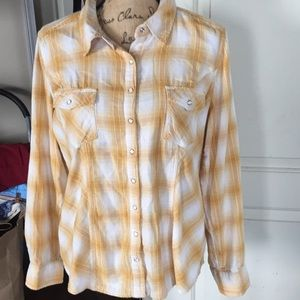 Style&co. Western Style Shirt Yellow Women's  Lg